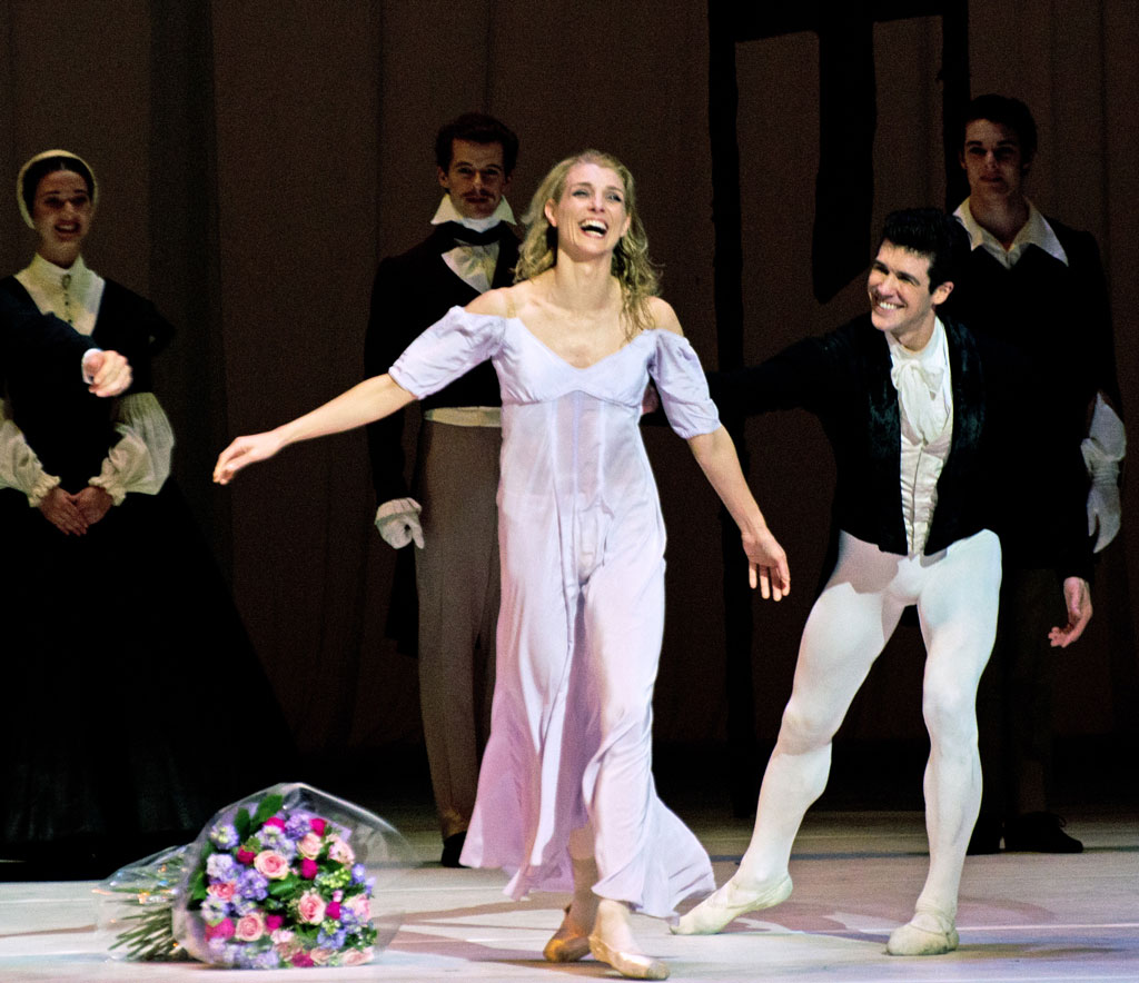 Zenaida Yanowsky, with and Roberto Bolle, after her final performance as a principal dancer with the Royal Ballet. (Click image for larger version)