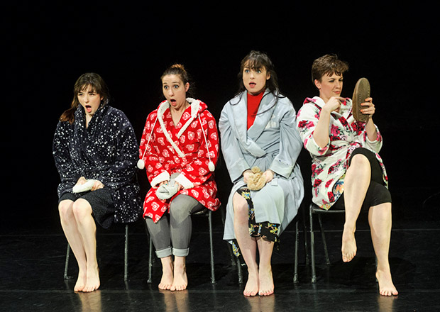 Cecilia Watts, Gaia Cicolani, Hannah Wade and Caitlin Murray in Lather. Rinse. Repeat..© Foteini Christofilopoulou. (Click image for larger version)