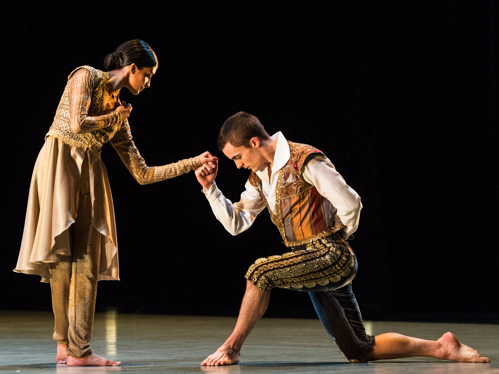 Liam Riddick, here dancing with Vidya Patel, in Richard Alston's <I>An Italian in Madrid</I>.<br />© Foteini Christofilopoulou. (Click image for larger version)