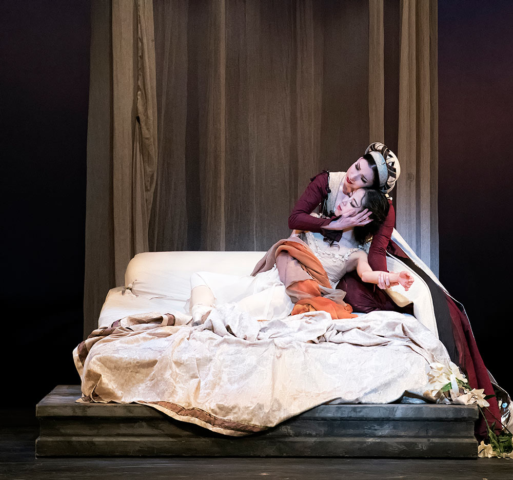 Kateryna Derechyna and EunWon Lee in <I>Romeo and Juliet</I>.<br />© Gene Schiavone. (Click image for larger version)