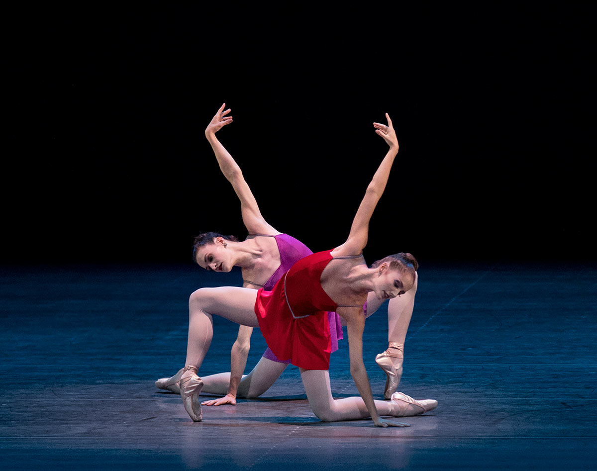 Unity Phelan and Megan LeCrone in Peter Martins' The Red Violin.© Paul Kolnik. (Click image for larger version)