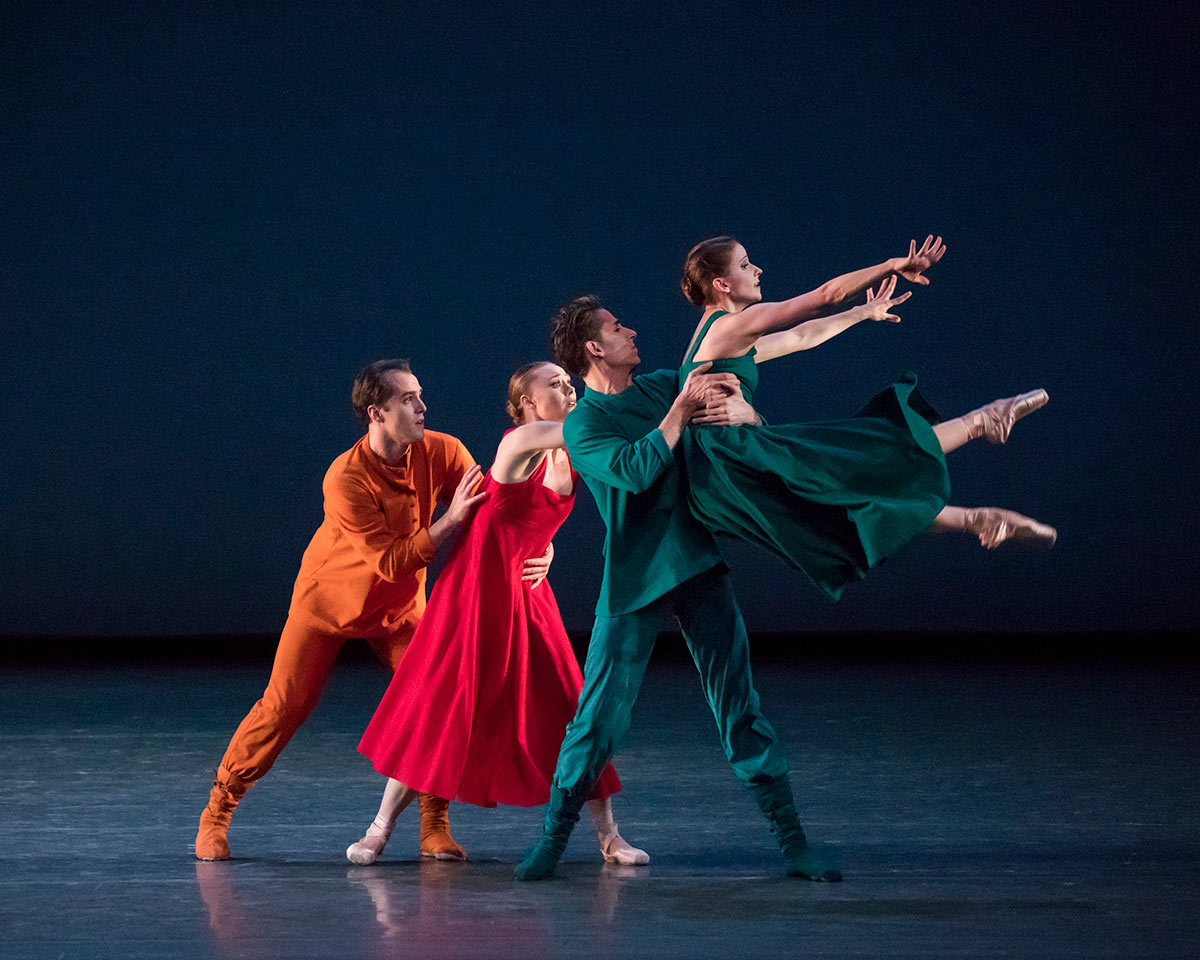 Jared Angle, Sara Mearns, Cameron Dieck and Abi Stafford in Alexei Ratmansky's Russian Seasons.© Paul Kolnik. (Click image for larger version)