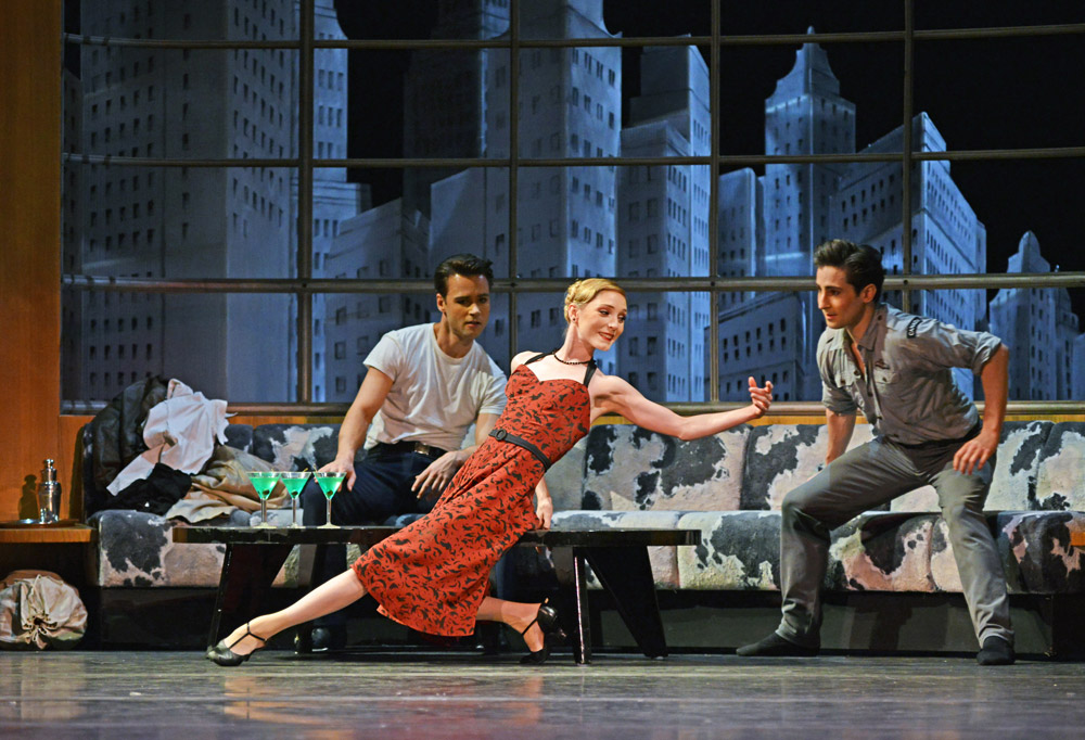 Alexander Campbell, Sarah Lamb and Tristan Dyer in Liam Scarlett's The Age of Anxiety.© Dave Morgan, courtesy the Royal Opera House. (Click image for larger version)