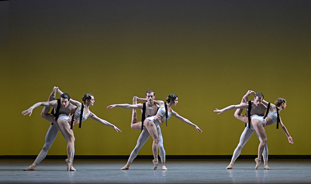 David Donnelly, Charlotte Tonkinson, David Yudes, Isabella Gasparini, Kevin Emerton and Camille Bracher in Christopher Wheeldon's <I>Corybantic Games</I>.<br />© Dave Morgan, courtesy the Royal Opera House. (Click image for larger version)