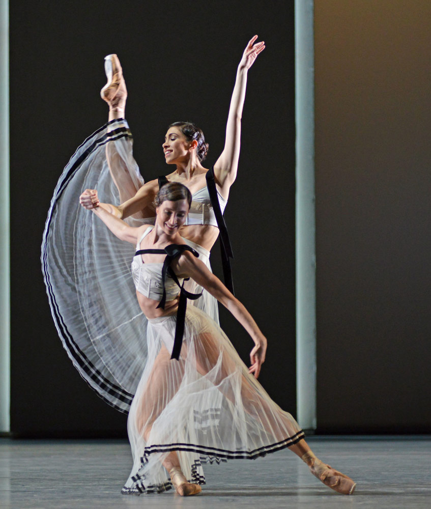 Lauren Cuthbertson and Yasmine Naghdi in Christopher Wheeldon's Corybantic Games.© Dave Morgan, courtesy the Royal Opera House. (Click image for larger version)