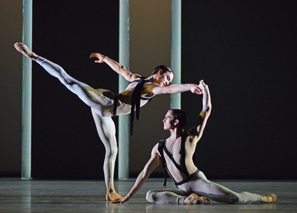 Matthew Ball and William Bracewell in Christopher Wheeldon's Corybantic Games.© Dave Morgan, courtesy the Royal Opera House. (Click image for larger version)