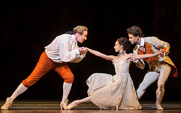 Christopher Saunders, Francesca Hayward and Alexander Campbell in Manon.© Foteini Christofilopoulou, courtesy the Royal Opera House. (Click image for larger version)