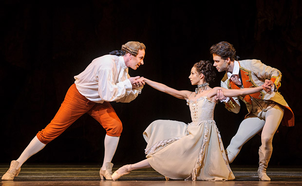 Christopher Saunders, Francesca Hayward and Alexander Campbell in <I>Manon</I>.<br />© Foteini Christofilopoulou, courtesy the Royal Opera House. (Click image for larger version)