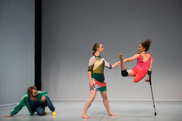 Nicolas Vendange, Megan Armishaw and Mickaella Dantas in Face In.© Hugo Glendinning. (Click image for larger version)