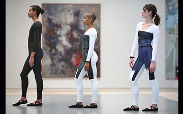 Ahmaud Culver, Jasmine Hearn and Anna Witenberg in live performance as part of the Nick Mauss: Transmissions exhibition.© Paula Court. (Click image for larger version)