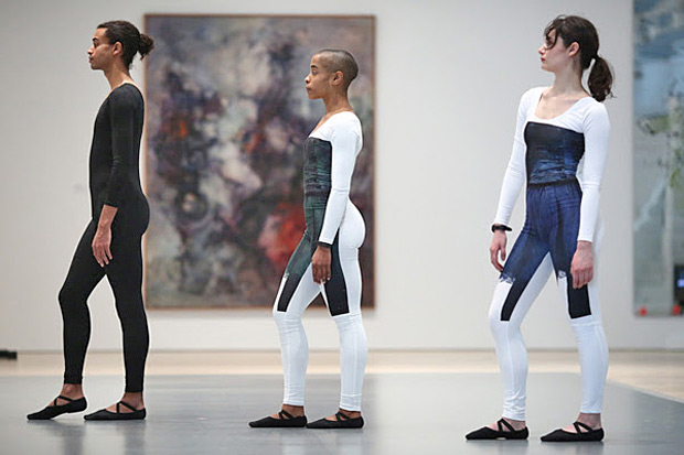 Ahmaud Culver, Jasmine Hearn and Anna Witenberg in live performance as part of the <I>Nick Mauss: Transmissions</I> exhibition.<br />© Paula Court. (Click image for larger version)