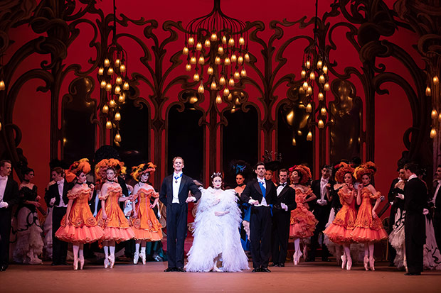 Adam Bull, Amber Scott and Andrew Killian in <I>The Merry Widow</I>.<br />© Daniel Boud. (Click image for larger version)