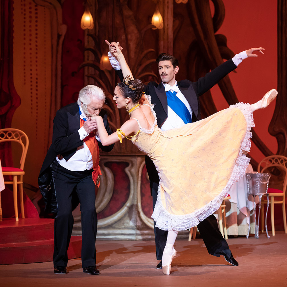 Colin Peasley, Leanne Stojmenov and Andrew Killian in The Merry Widow.© Daniel Boud. (Click image for larger version)