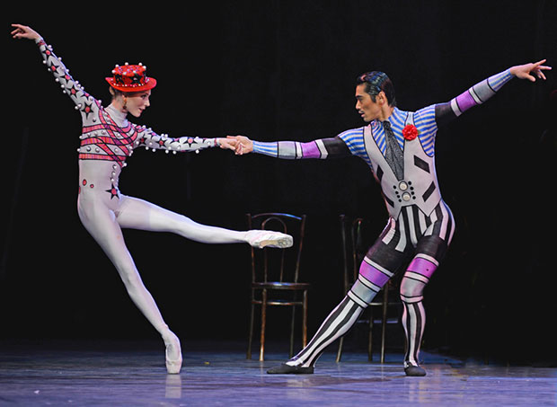 Sarah Lamb, Ryoichi Hirano in <I>Elite Syncopations</I>.<br />© Dave Morgan, courtesy the Royal Opera House. (Click image for larger version)