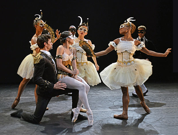 Thiago Soares, Francesca Hayward with Isabella Coracy, Sayaka Ichikawa and Marie Astrid Mence in <I>Laiderette</I>.<br />© Dave Morgan. (Click image for larger version)