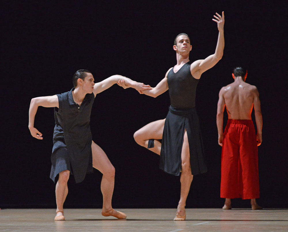 William Bracewell and Tomas Mock in Obsidian Tear.© Dave Morgan, courtesy the Royal Opera House. (Click image for larger version)