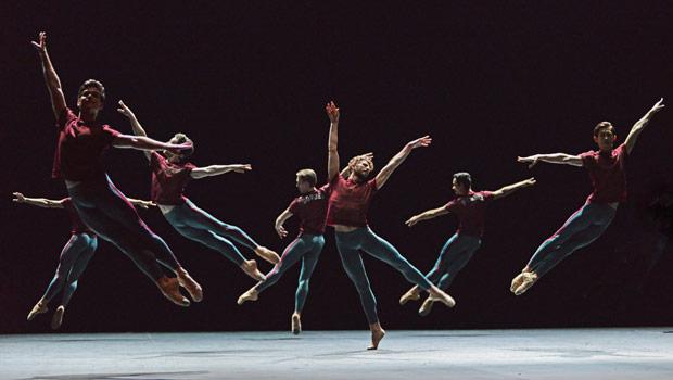 English National Ballet in Forsythe's <I>Playlist (Track 1, 2)</I>.<br />© Dave Morgan. (Click image for larger version)