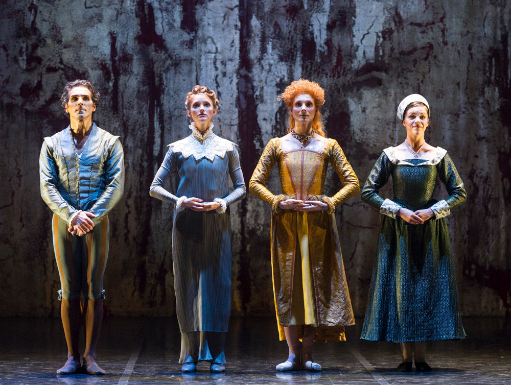 Yury Yanowsky, Sonya Cullingford, Zenaida Yanowsky and Katie Deacon in Will Tuckett's Elizabeth.© Foteini Christofilopoulou, courtesy the Royal Opera House. (Click image for larger version)