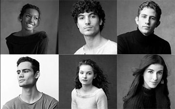 The 2018 ENB Emerging Dancer finalists: Precious Adams, Fernando Carratalá Coloma, Giorgio Garrett, Daniel McCormick, Francesca Velicu and Connie Vowles.© Karolina Kuras. (Click image for larger version)