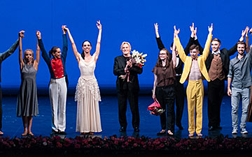 Dancers from Evgeny Panfilov Ballet Theatre with Vladimir Vasiliev at the end of the contemporary second half of the gala.© Nikita Chuntomov. (Click image for larger version)