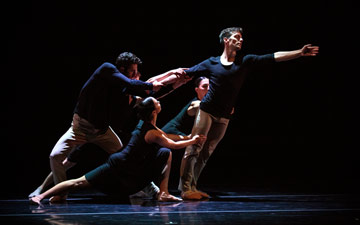Garrett Anderson, right, with full ensemble in James Sofranko's Homing.© Alexander Reneff-Olson. (Click image for larger version)