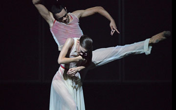 Brandon Lawrence and Delia Matthews in Embrace.© Dave Morgan. (Click image for larger version)