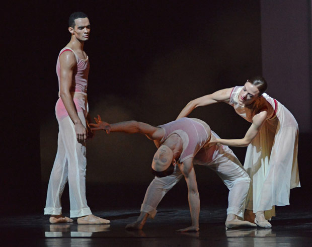 Brandon Lawrence, Lachlan Monaghan and Delia Matthews in <I>Embrace</I>.<br />© Dave Morgan. (Click image for larger version)
