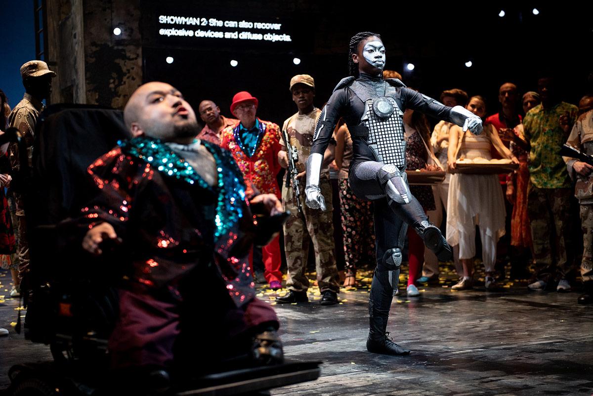 Woyzeck community cast Amir Ali as Showman and Richella McPherson as Robot.© Graeme Braidwood. (Click image for larger version)