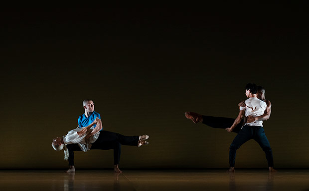 Jordan James Bridge, Rebecca Bassett-Graham, Po-Lin Tung and Louis McMiller (Company Wayne McGregor) in <I>Bach Forms</I>, choreography by Wayne McGregor. © Ravi Deepres. (Click image for larger version)