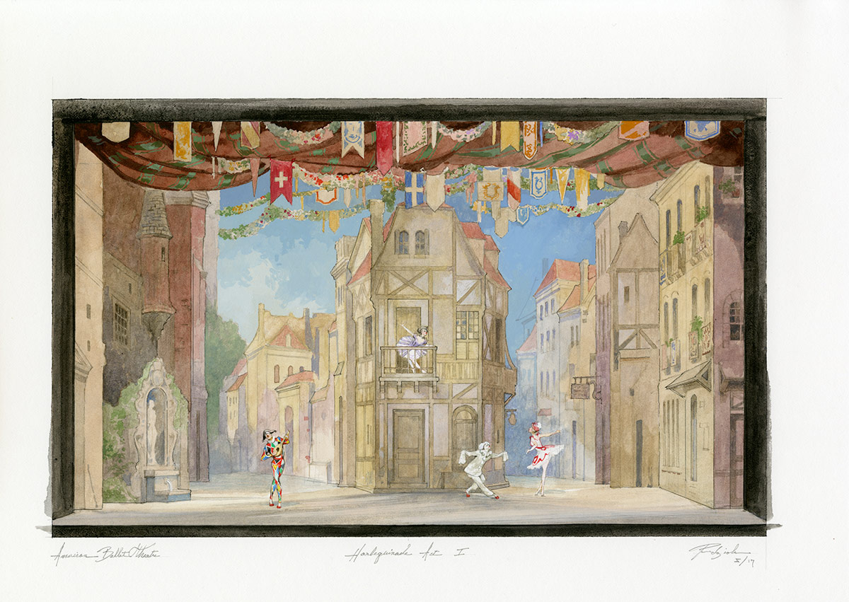 Act 1 stage designs for <I>Harlequinade</I> by Robert Perdziola.<br />© Robert Perdziola. (Click image for larger-version)