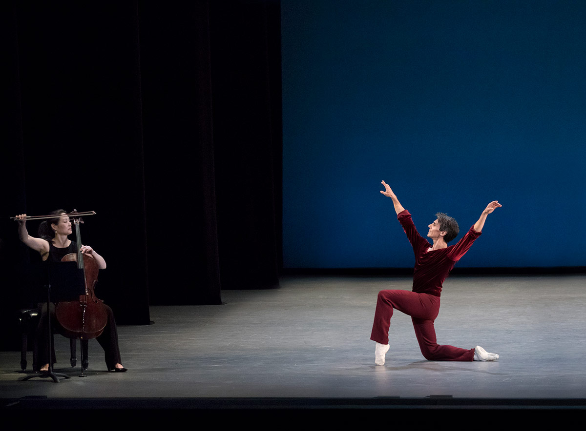 Jerome Robbins' <I>A Suite of Dances</I> here with Joaquin de Luz.<br />© Paul Kolnik. (Click image for larger version)