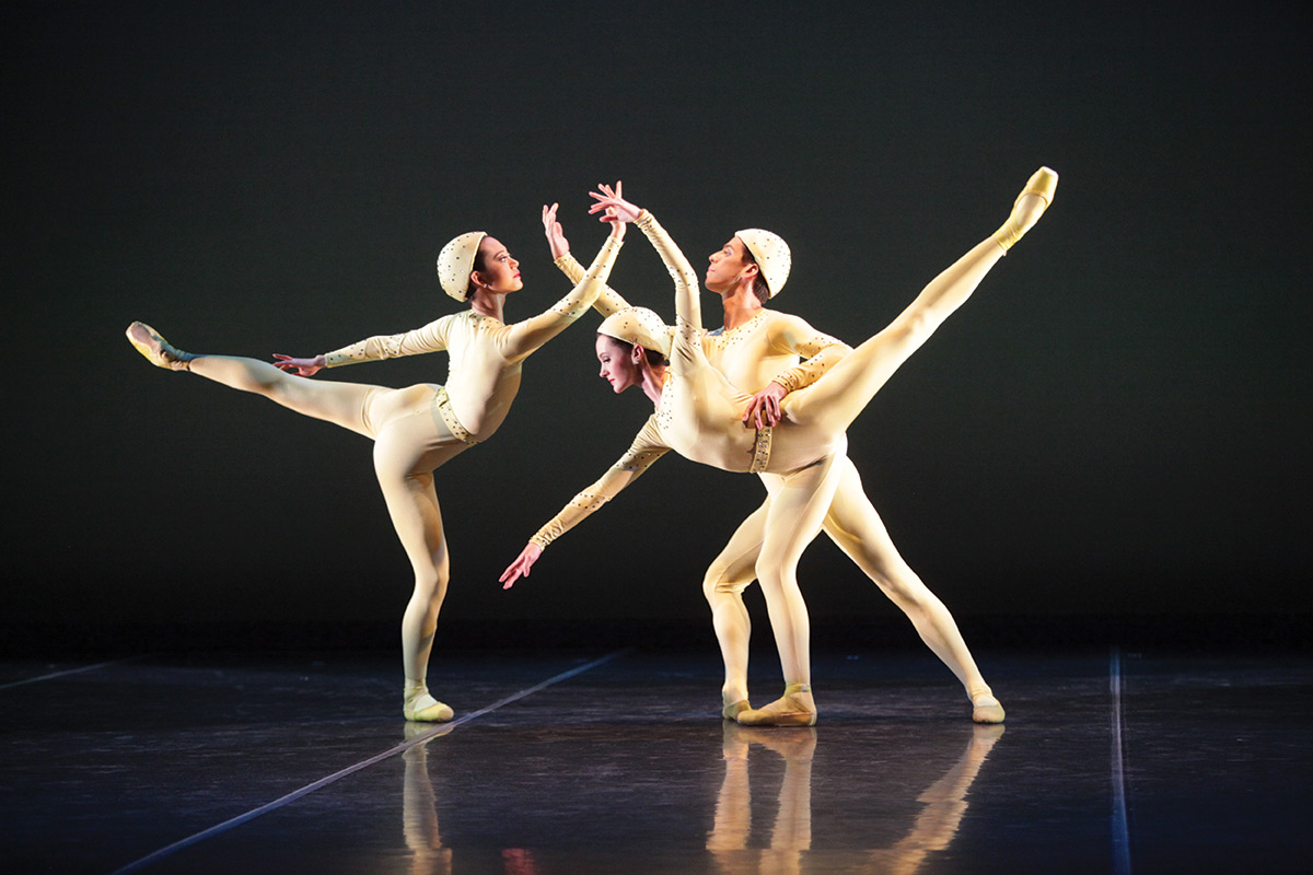 Ryoko Sadoshima, Samantha Benoit and Alex Harrison in Ashton's <I>Monotones I</I>.<br />© Frank Atura. (Click image for larger version)