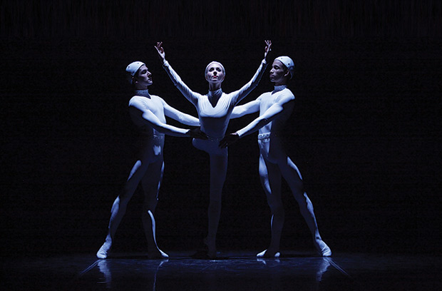 Victoria Hulland, Ricardo Graziano and Ricardo Rhodes in Ashton's Monotones II.© Frank Atura. (Click image for larger version)