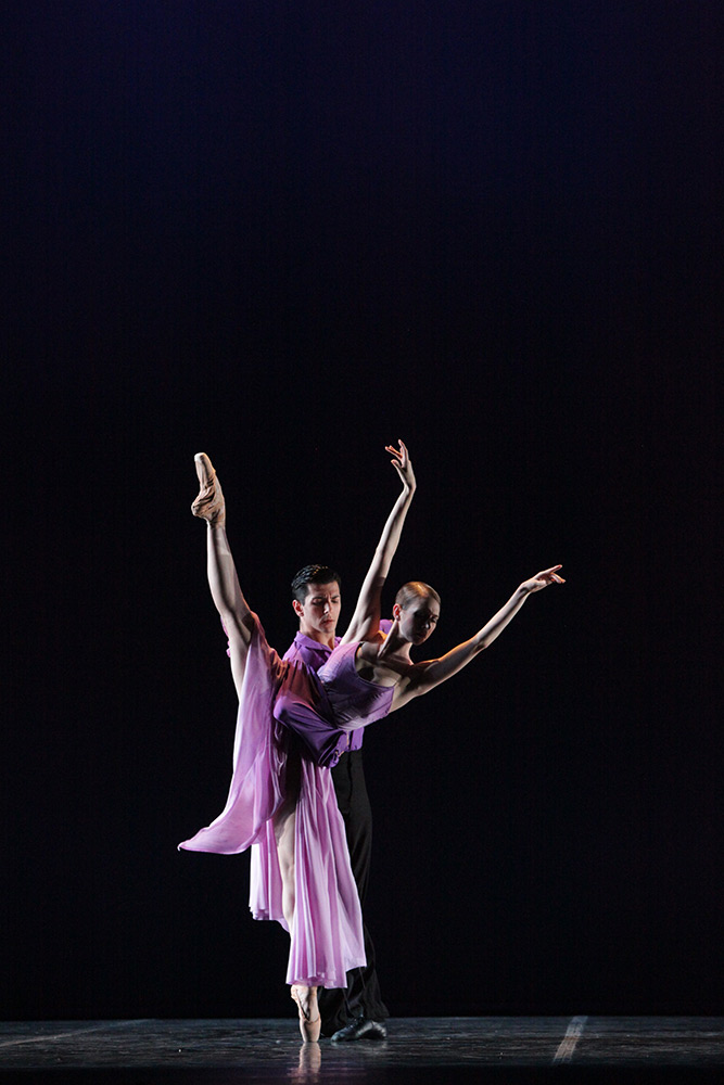Amy Wood and Ricardo Graziano in Wheeldon's <I>There Where She Loved</I>.<br />© Frank Atura. (Click image for larger version)