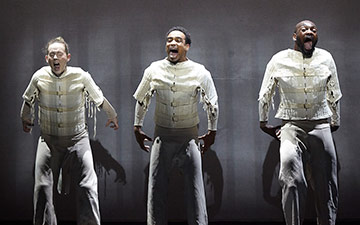 Ricardo Da Silva, Gemma Kay Hoddy and Dickson Mbi in Blak Whyte Gray.© Carl Fox. (Click image for larger version)