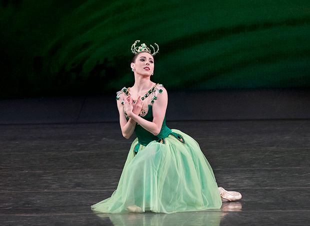Tiler Peck in <I>Emeralds</I> from <I>Jewels</I>.<br />© Paul Kolnik. (Click image for larger version)
