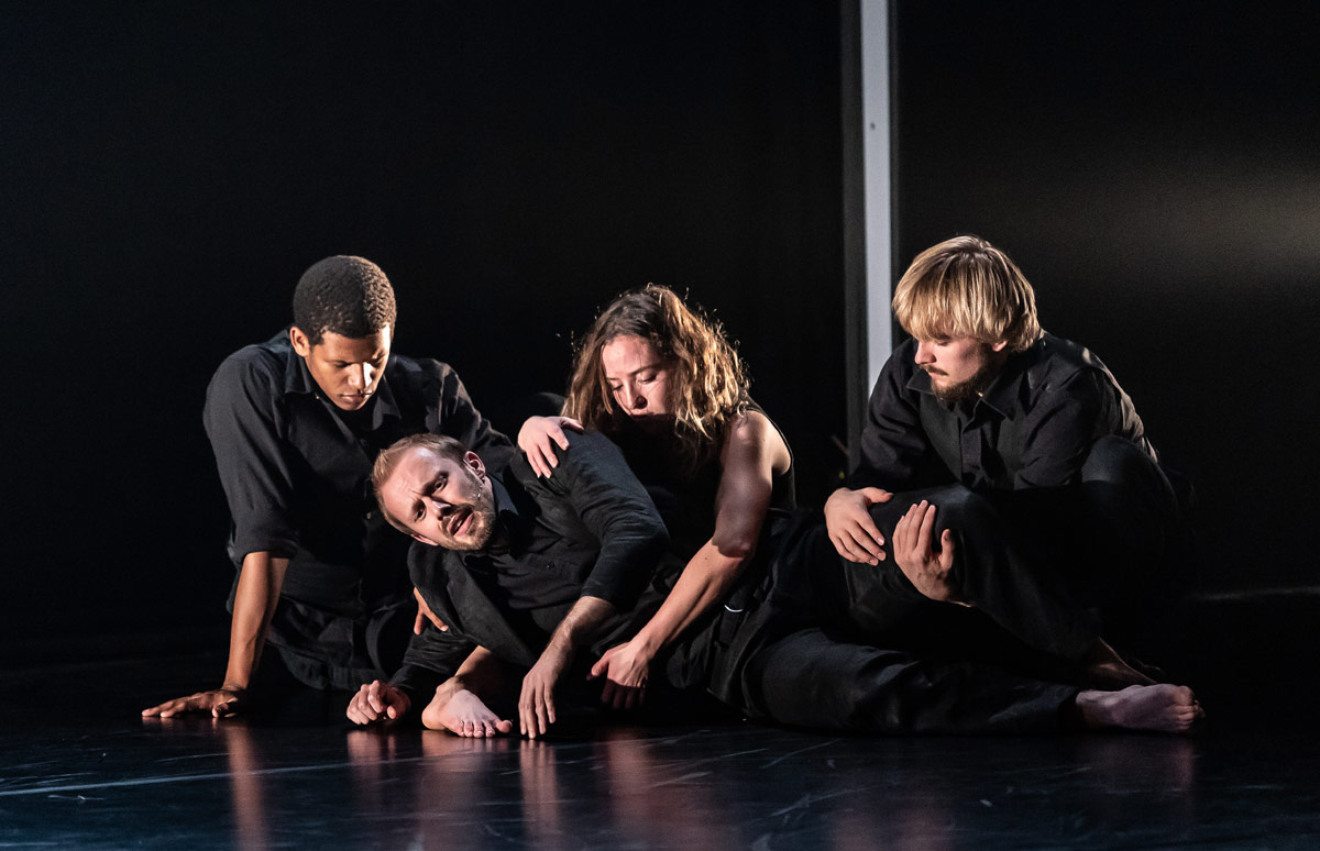 Johnny Herford and National Dance Company Wales dancers in Pascal Dusapin's Passion.© Clive Barda. (Click image for larger version)