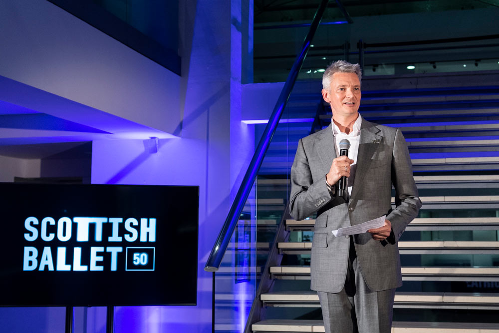 Christopher Hampson, introducing the 50th Anniversary Season to London friends and supporters of the company.© Foteini Christofilopoulou. (Click image for larger version)