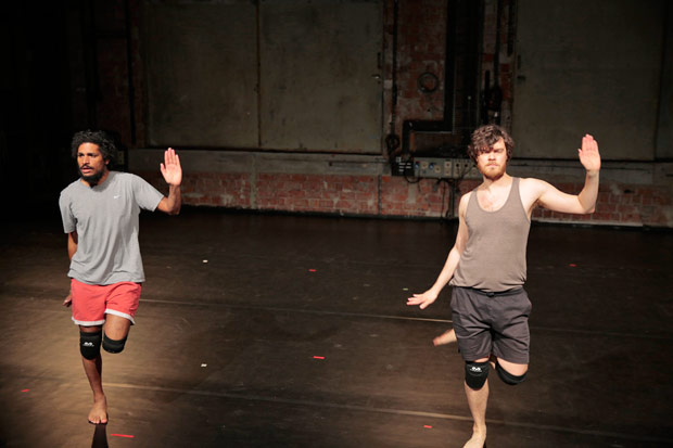 Julian Warner and Oliver Zahn in <I>Situation With Doppelganger: Essay Performance</I>.<br />© Nicole Wytyczak. (Click image for larger version)