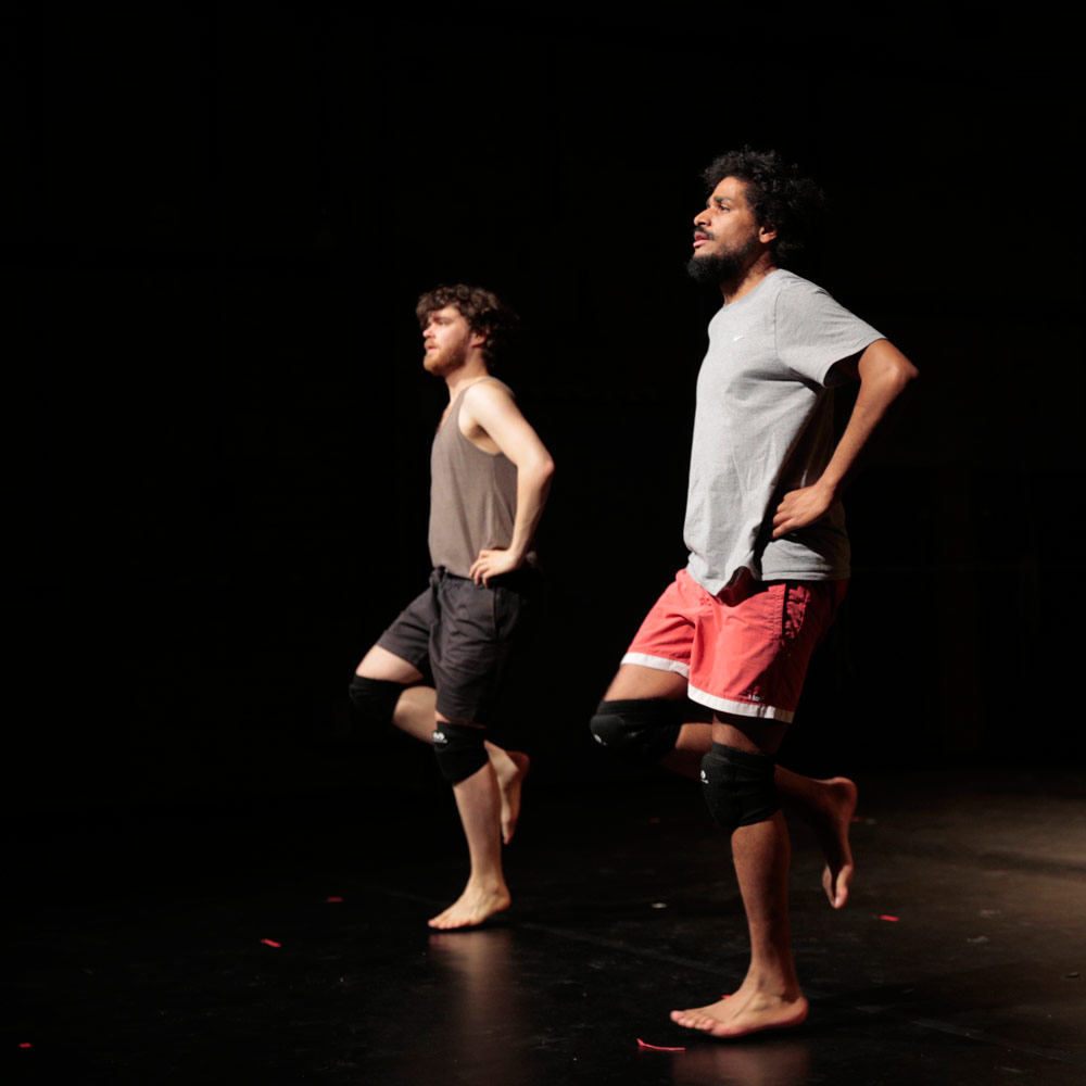 Oliver Zahn and Julian Warner in Situation With Doppelganger: Essay Performance.© Nicole Wytyczak. (Click image for larger version)