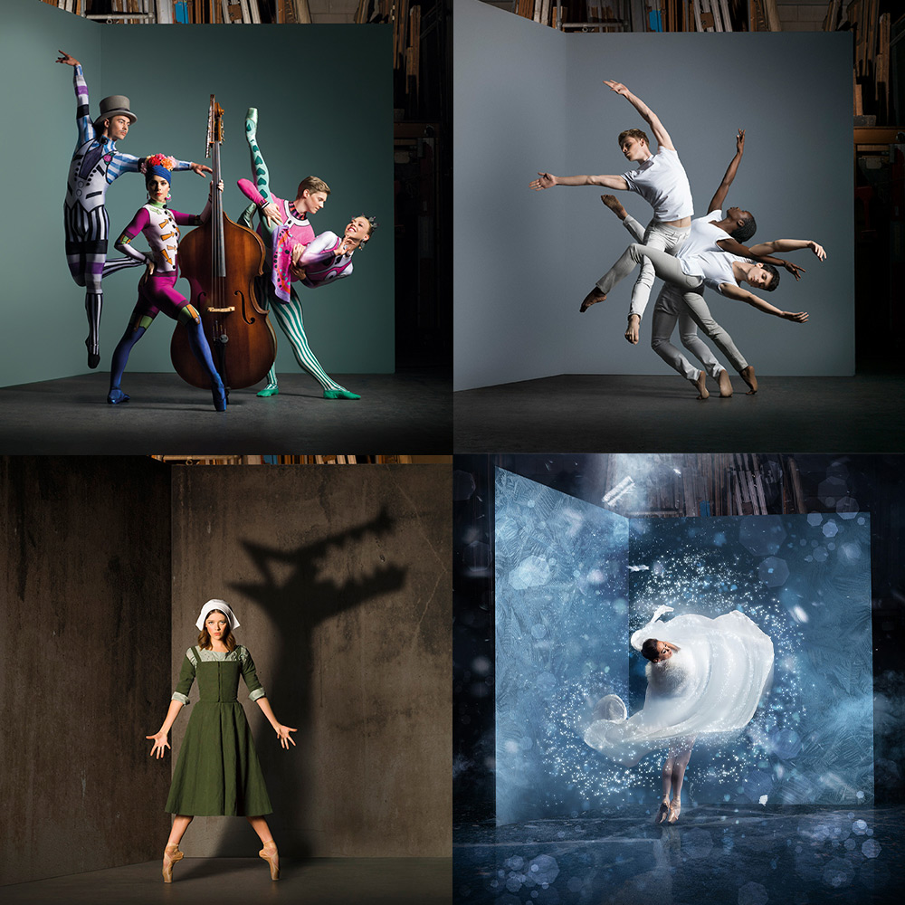 Poster images for Spring!, Digital Season, <I>The Crucible</I> and <I>The Snow Queen</I>.<br />© Scottish Ballet. (Click image for larger version)