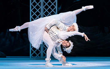 Fumi Kaneko and William Bracewell in Les Patineurs.© Foteini Christofilopoulou, courtesy the Royal Opera House. (Click image for larger version)