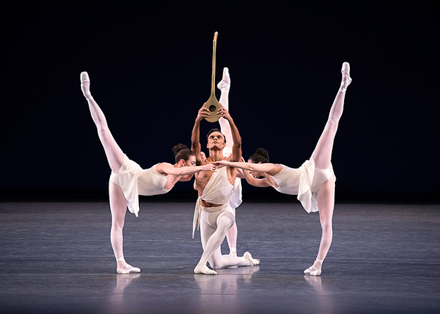 Tiler Peck, Indiana Woodward, Brittany Pollack and Taylor Stanley in George Balanchine's <I>Apollo</I>.<br />© Erin Baiano. (Click image for larger version)