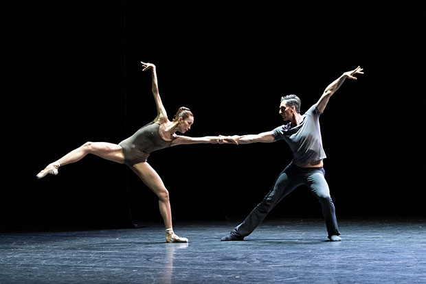 Semperoper Ballett: Sangeun Lee and Raphael Coumes-Marquet in Forsythe's <I>Bach Duet</I>.<br />© Foteini Christofilopoulou. (Click image for larger version)