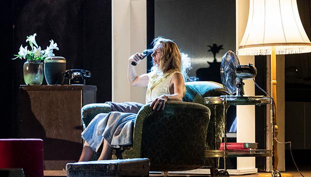 Julie Shanahan in <I>Bon Voyage, Bob...</I><br />© Foteini Christofilopoulou. (Click image for larger version)