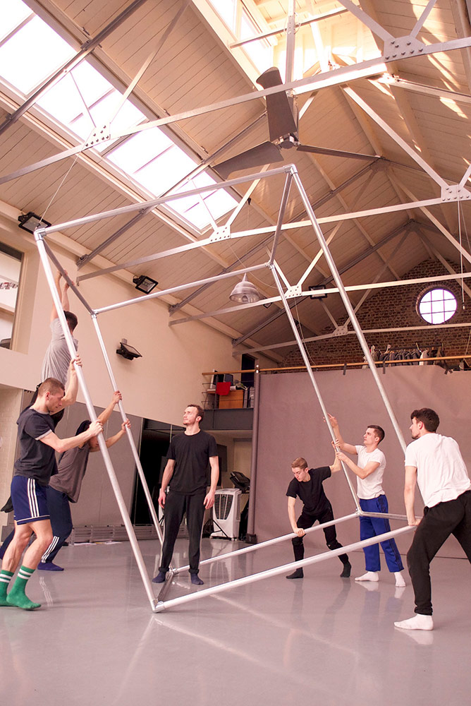 BalletBoyz in the studio creating <I>Them</I>.<br />© George Piper. (Click image for larger version)