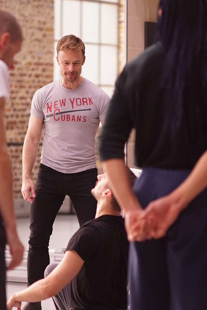 Christopher Wheeldon and the BalletBoyz in the studio working on <I>Us</I>.<br />© George Piper. (Click image for larger version)