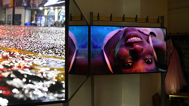 <I>Virgin Territory Film Installation</I>, here at the Brighton Festival.<br />© Bosie Vincent. (Click image for larger version)