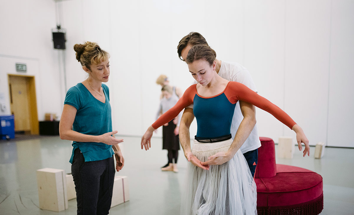 Cathy Marston, Joseph Taylor and Abigail Prudames in rehearsals for Victoria.© Drew Forsyth. (Click image for larger version)