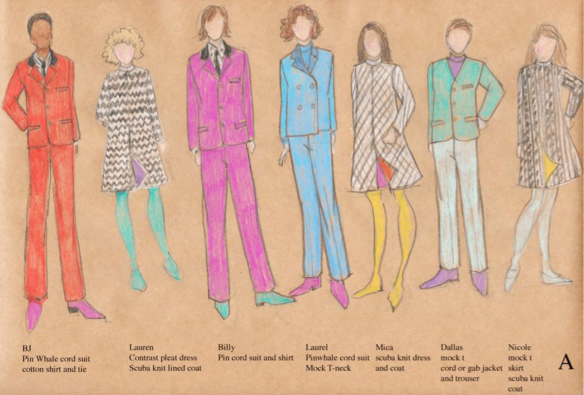 Pepperland costume sketches by Elizabeth Kurtzman.© Elizabeth Kurtzman. (Click image for larger version)